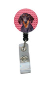 Dachshund Love and Hearts Retractable Badge Reel or ID Holder with Clip