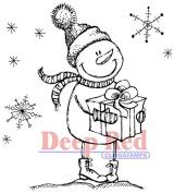 Deep Red Cling Stamp 5.1cm x 5.1cm -Snow Boy W/Gift