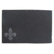 Thirstystone NS003C Slate Cheese Board Etched Fleur de Lis with Chalk