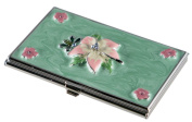 Visol Flora Green and Pink Lacquer with Crystals Women's Business Card Case