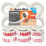 Sure-Max Premium Fragile Printed Tape 2.0 mil 100m (110 yards) - White / Red - 18 Rolls