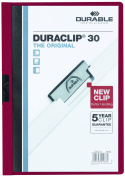 DURABLE Vinyl DuraClip Report Cover with Clip, Letter, Holds 30 Pages, Clear/Maroon,