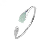 Jade Angel Handcraft Sterling Silver Cuff Bracelet with Sculpted Natural Jade Gardenias Silver Bangle