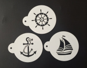 Yunko Set of 3 Sailing Anchor Rudder Cup Cake Stencils Cookie Coffee Stencils White