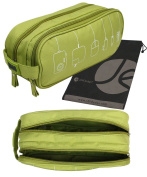 Green Double Zippered Travel Pouch for Cables, Accessories with Pockets, Carrying Handle, Bonus Drawstring Storage Bag