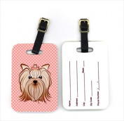 Pair of Pink Chequered Yorkie / Yorkshire Terrier Luggage Tags BB1138BT