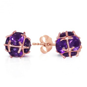 14K Solid Rose Gold Stud Earrings with Natural Amethysts