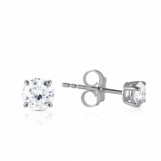 0.4 Carat 14K Solid White Gold Stud Earrings 0.40 Carat H-i, Si-2 Diamond