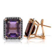 14K Solid Rose Gold Stud French Clips Earrings Diamonds & Amethysts