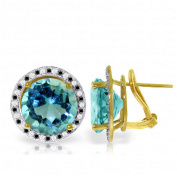 14K Solid Gold Stud French Clips Earrings Black / White Diamonds & Blue Topaz