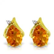 3.26 CTW 14K Solid Gold Stud Earrings Diamond Citrine