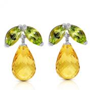 3.4 Carat 14K Solid White Gold Stud Earrings Peridot Citrine