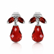 3.4 CTW 14K Solid White Gold High Principles Garnet Earrings