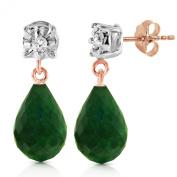 14K Solid Rose Gold Stud Earrings withDiamonds & Emeralds