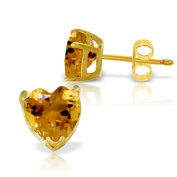 3.25 Carat 14K Solid Gold Stud Earrings Natural Citrine
