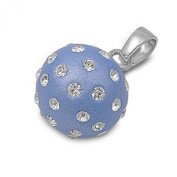 Blue Ball Pendant Clear Simulated CZ .925 Sterling Silver Charm