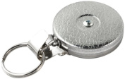 Key-Bak #5H Retractable Reel with 60cm Stainless Steel Chain, Chrome Front, Steel Belt Clip, Split Ring, Huskey Key Hook