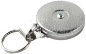 Key-Bak #5H Retractable Reel with 60cm Stainless Steel Chain, Chrome Front, Steel Belt Clip, Split Ring, Huskey Key Hook