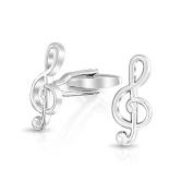 Bling Jewellery Rhodium Plated Music Note Symbol Mens G Clef Treble Clef Cufflinks