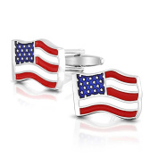 Bling Jewellery Stainless Steel Plated Waved USA Enamel United States American Flag Cufflinks