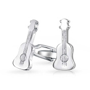 Bling Jewellery Mens Music Instrument Acoustic Guitar Cufflinks Stainless Steel Plated