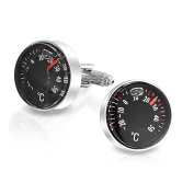 Bling Jewellery Stainless Steel Plated Usable Mens Degree Celsius Thermometer Cufflinks