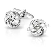Bling Jewellery High Polished Mens Pair Love Knot Cufflinks Stainless Steel Plated