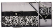 Lillian Rose 25cm Black Damask Guest Book with 13cm Pen Set