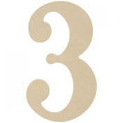 MDF Classic Font Wood Letters & Numbers 24cm -Number 3