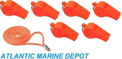 NEW ORANGE PLASTIC SAFETY WHISTLE W/LANYARD FOR BOATS,RAFT,MARINE EMERGENCY 6 PK