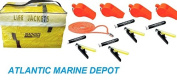 4 PACK TYPE II YELLOW LIFE JACKET W/LIGHT STICK & WHISTLE & STORAGE BAG USCG