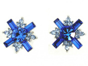 Gorgeous Sapphire Colour Blue Crystal Cross Pierced Stud Earrings C327