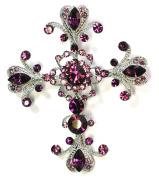 Cross Crucifix Pin Brooch Big Pendant Amethysy Purple Crystal