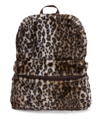 Furry Animal Print Backpack - Leopard