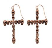 Gothic Skull Cross Dangle Earrings Rose Gold Copper Colour