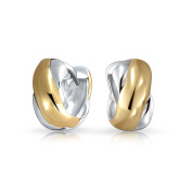 Bling Jewellery Gold Plated 925 Sterling Silver Two Toned Crossover X Small Huggie Hoop Earrings