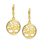 Bling Jewellery Celtic Tree of Life Gold Plated Leverback Earrings 925 Silver
