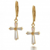 Bling Jewellery Gold Plated Baguette CZ Cross Leverback Earrings