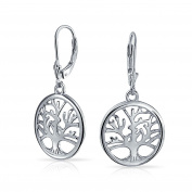 Bling Jewellery 925 Sterling Silver Celtic Tree of Life Leverback Dangle Earrings