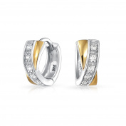 Bling Jewellery Gold Plated Sterling Silver Two Toned CZ Crossover X Huggie Hoop Earrings