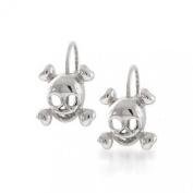 Bling Jewellery 925 Sterling Silver Skull & Crossbones Gothic Leverback Earrings