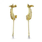 Bling Jewellery CZ Angel Wings Dangling Briolette Cartilage Earrings Gold Plated