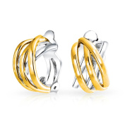 Bling Jewellery Two Tone Gold Plated Criss Cross Modern Half Hoop Clip On Earrings