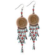 Coppertone Indian Head Cent Chandelier Earrings