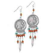 UPM Global LLC 12568 Buffalo Nickel Silvertone Feather Earrings