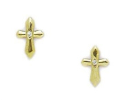14KT Yellow Gold Cubic Zirconia Small Cross Screwback Earrings - Measures 8x5mm
