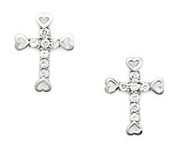 14KT White Gold Cubic Zirconia Small Cross Screwback Earrings - Measures 11x8mm
