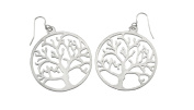 Silver Tone Tree of Life Round Dangle Earrings