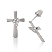 Sterling Silver Rhodium Plated Cubic Zirconia Medium Cross With Heart Screwback Earrings - Measures 14x9MM
