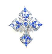 Sapphire Colour Rhinestone Crystal Cross Pin Brooch C59